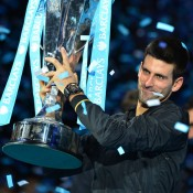 Novak Djokovic clinched the year-end No.1 ranking for the second straight season when he won the ATP World Tour Finals in 2012 (pictured). It consolidated his standing at the top of the game following a breathtaking 2011 season during which he won three Grand Slam titles and posted a 70-6 record; BEN STANSALL/AFP/Getty Images