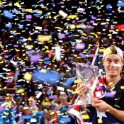 Lleyton Hewitt's victory on home soil at the Tennis Masters Cup in Sydney in 2001 (pictured) helped the Aussie clinch the season-ending No.1 ranking that year. He repeated the feat in 2002; ALLSPORT