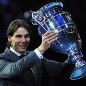 Spain's Rafael Nadal poses with the 2013 ATP World Number One trophy during the ATP World Tour Finals in London, marking the third time in his storied career (after 2008 and 2010) that he finished the season at world No.1; GLYN KIRK/AFP/Getty Images