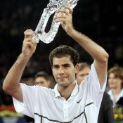 Pete Sampras holds the record for most seasons finishing the year ranked No.1; here he is being awarded for concluding his sixth-straight season on top in 1998; Allsport