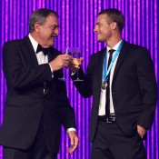 John Newcombe (left) and Lleyton Hewitt, Newcombe Medal, Australian Tennis Awards 2013. GETTY IMAGES