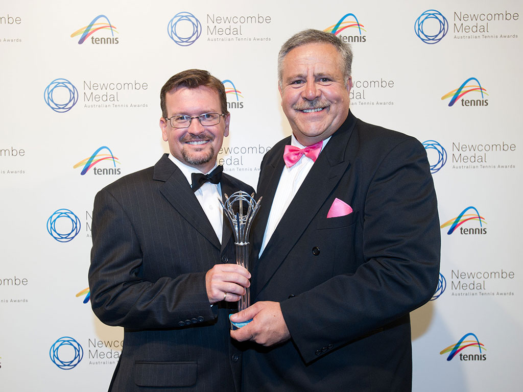 Andrew Allpass and Allen Smythe, Newcombe Medal, Australian Tennis Awards 2013, Melbourne. XUE BAI