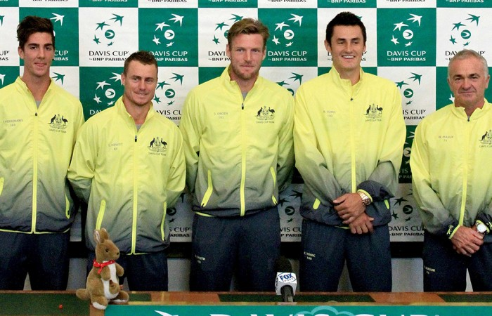 The Australian Davis Cup team poses at the draw ceremony ahead of its World Group first round tie in Ostrava against the Czech Republic; Getty Images