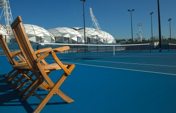2nd of May 2013. HDR composite image of plexicushion courts at the National Tennis Centre with AAMI Park in background. EDITORS NOTE: Individual frames available. Mark Riedy.