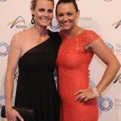 Casey Dellacqua (L) and Amanda, Newcombe Medal, Australian Tennis Awards 2013. XUE BAI