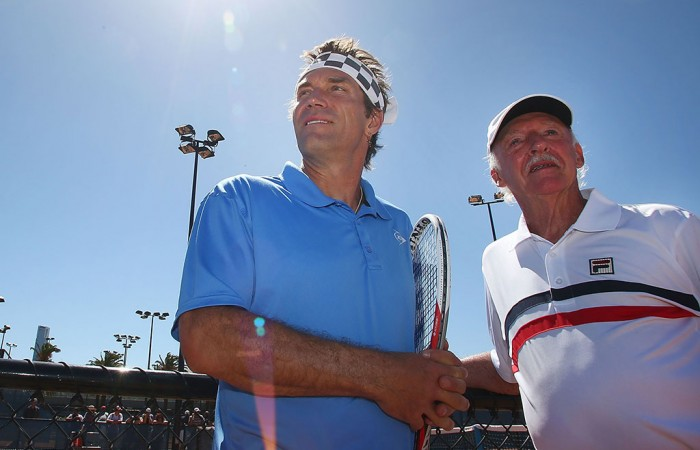 Pat Cash (left) with former coach Ian Barclay, Melbourne Park, 2013. GETTY IMAGES