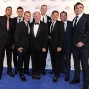 Australian Davis Cup team members (L-R) Nick Kyrgios, Bernard Tomic, Lleyton Hewitt, Tony Roche, Chris Guccione, Peter Luczak, Josh Eagle and Marinko Matosevic, Newcombe Medal, Australian Tennis Awards 2013. XUE BAI