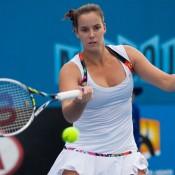 Jarmila Gajdosova in action during her victory over Jelena Dokic at the Australian Open 2014 Play-off; Matt Johnson