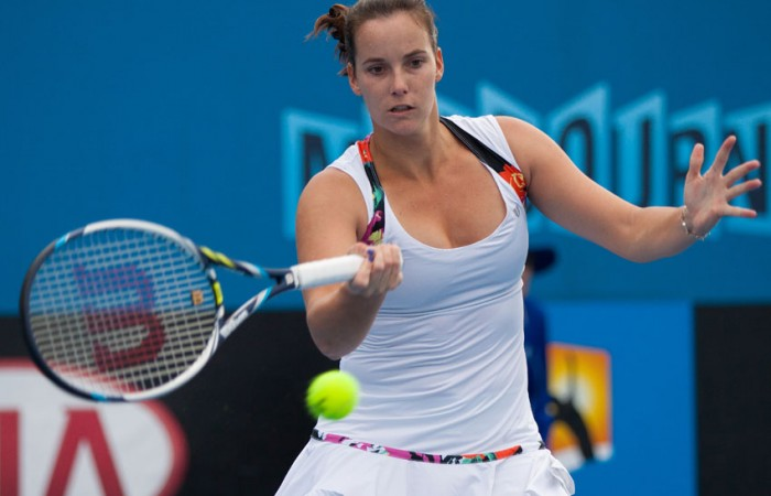 Jarmila Gajdosova in action during her victory over Jelena Dokic at the Australian Open 2014 Play-off; Matt Johnson
