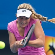 Maddison Inglis in action during the 2014 18/u Australian Championships at Melbourne Park; Elizabeth Xue Bai