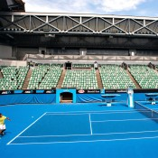 Nick Kyrgios hits on the new-look Margaret Court Arena; Getty Images