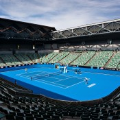 The new-look Margaret Court Arena; Getty ImagesAustralian Open 2014, the roof will be fixed in an open position while the stadium remains under a construction phase. In 2015 Margaret Court Arena will feature a fully retractable roof, making the Australian Open the only Grand Slam event with three retractable-roofed stadiums.  (Photo by Vince Caligiuri/Getty Images)