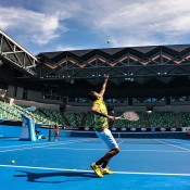 Nick Kyrgios serves on the new-look Margaret Court Arena; Getty Images