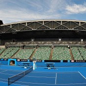A wide view of the new-look Margaret Court Arena; Getty ImagesAustralian Open 2014, the roof will be fixed in an open position while the stadium remains under a construction phase. In 2015 Margaret Court Arena will feature a fully retractable roof, making the Australian Open the only Grand Slam event with three retractable-roofed stadiums.  (Photo by Vince Caligiuri/Getty Images)