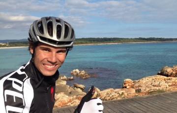 Rafael Nadal bike-riding; Rafael Nadal via Facebook
