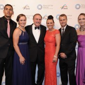 John Newcombe (third from left) with 2013 Newcombe Medal finalists (L-R) Nick Kyrgios, Ashleigh Barty, Casey Dellacqua, Lleyton Hewitt and Sam Stosur, Newcombe Medal, Australian Tennis Awards 2013. XUE BAI