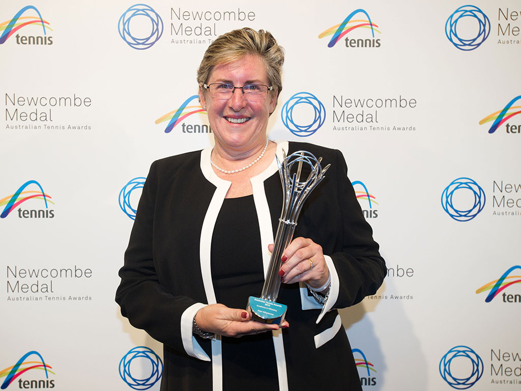 Pam Whytcross, Newcombe Medal, Australian Tennis Awards 2013, Melbourne. XUE BAI