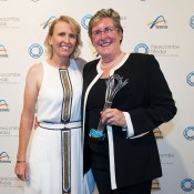Nicole Pratt (left) and Pam Whytecross, Newcombe Medal, Australian Tennis Awards 2013. XUE BAI