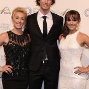 (L-R) Anastasia Rodionova, Ty Vickery and Arina Rodionova, Newcombe Medal, Australian Tennis Awards 2013. XUE BAI