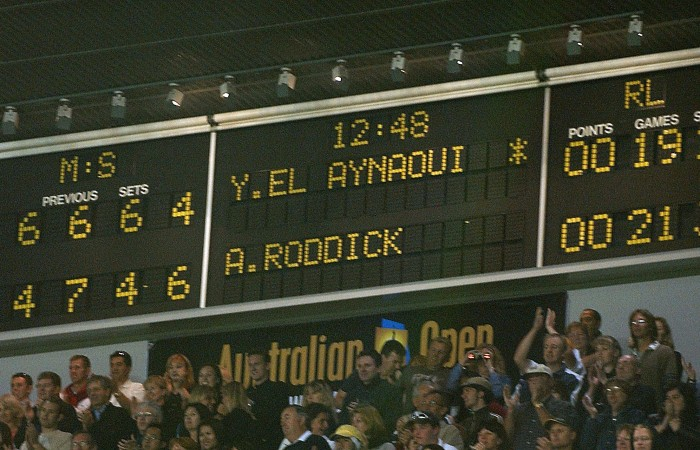 MELBOURNE - JANUARY 22:  The final scoreboard that shows Andy Roddick of the USA wins in five epic sets against Younes El Aynaoui of Morocco during the Australian Open Tennis Championships at Melbourne Park, Melbourne, Australia on January 22, 2003. (Photo by Clive Brunskill/Getty Images).