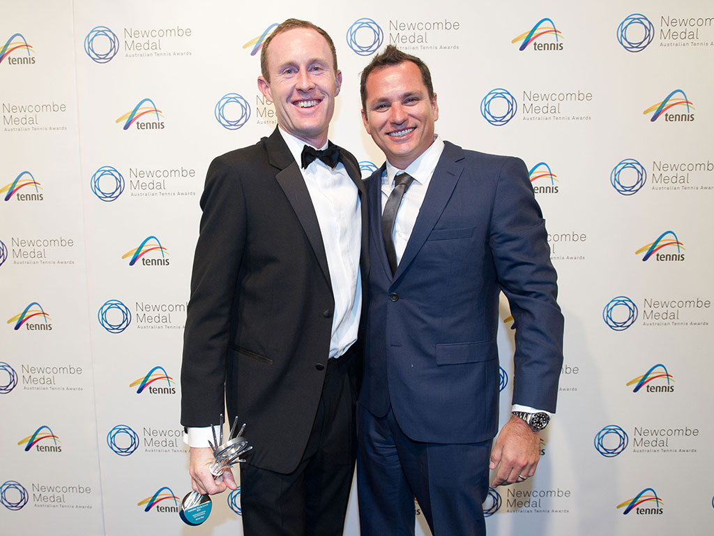 Simon Rea (left) and Josh Eagle, Newcombe Medal, Australian Tennis Awards 2013, Melbourne. XUE BAI