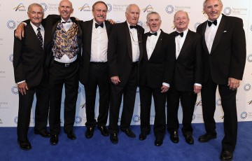 The 1973 Davis Cup team (l to r): Mal Anderson, Geoff Masters, John Newcombe, Neale Fraser, Ken Rosewall, Rod Laver and Colin Dibley, Newcombe Medal, Australian Tennis Awards 2013. XUE BAI