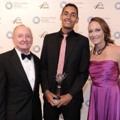 Rod Laver, Nick Kyrgios and Sam Stosur, Newcombe Medal, Australian Tennis Awards 2013. XUE BAI