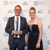Clint Fyfe and Jelena Dokic, Newcombe Medal, Australian Tennis Awards 2013. XUE BAI