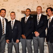 The Australian Davis Cup team at the official dinner (l to r): Pat Rafter, Lleyton Hewitt, Nick Kyrgios, Chris Guccione and Thanasi Kokkinakis. © FFT/P. Montigny