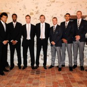 The French and Australian Davis Cup teams at the official dinner.  © FFT/P. Montigny