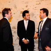 Julien Benneteau, Jo-Wilfried Tsonga and Pat Rafter share a joke at the Davis Cup dinner. © FFT/P. Montigny