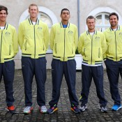 The Australian Davis Cup team (l to r): Thanasi Kokkinakis, Chris Guccione, Nick Kyrgios, Lleyton Hewitt and Pat Rafter (captain). © FFT/P. Montigny