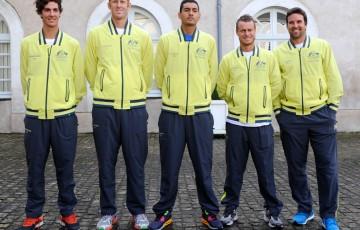 The Australian Davis Cup team (l to r): Thanasi Kokkinakis, Chris Guccione, Nick Kyrgios, Lleyton Hewitt and Pat Rafter (captain). © FFT/P. Montigny