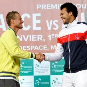 Lleyton Hewitt and Jo-Wilfried Tsonga at the draw ceremony. © FFT/P. Montigny