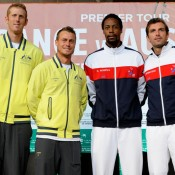 Doubles teams: Chris Guccione/Lleyton Hewitt and Gael Monfils/Julien Benneteau at the draw ceremony. © FFT/P. Montigny