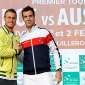 Lleyton Hewitt and Richard Gasquet at the draw ceremony. © FFT/P. Montigny