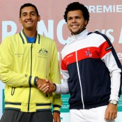 Nick Kyrgios and Jo-Wilfried Tsonga at the draw ceremony. © FFT/P. Montigny