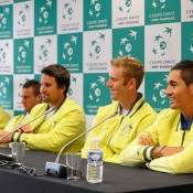 The Australian team faces the media. © FFT/P. Montigny