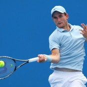 Bradley Mousley in action during the 2014 Australian Open Junior Championships at Melbourne Park on January 20, 2014 in Melbourne, Australia.