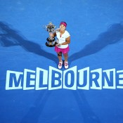 MELBOURNE, AUSTRALIA - JANUARY 25:  Na Li of China holds the Daphne Akhurst Memorial Cup after winning the women's final match against Dominika Cibulkova of Slovakia during day 13 of the 2014 Australian Open at Melbourne Park on January 25, 2014 in Melbourne, Australia.  (Photo by Quinn Rooney/Getty Images)