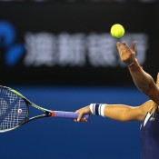 MELBOURNE, AUSTRALIA - JANUARY 25:  Dominika Cibulkova of Slovakia serves in her women's final match against Na Li of China during day 13 of the 2014 Australian Open at Melbourne Park on January 25, 2014 in Melbourne, Australia.  (Photo by Clive Brunskill/Getty Images)