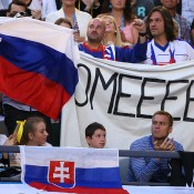 MELBOURNE, AUSTRALIA - JANUARY 25: Fans of Dominika Cibulkova of Slovakia watch her in her women's final match against Na Li of China during day 13 of the 2014 Australian Open at Melbourne Park on January 25, 2014 in Melbourne, Australia.  (Photo by Mark Kolbe/Getty Images)