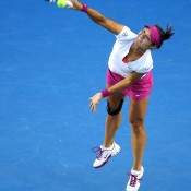 MELBOURNE, AUSTRALIA - JANUARY 25:  Na Li of China serves in her women's final match against Dominika Cibulkova of Slovakia during day 13 of the 2014 Australian Open at Melbourne Park on January 25, 2014 in Melbourne, Australia.  (Photo by Quinn Rooney/Getty Images)