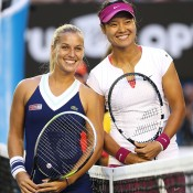 MELBOURNE, AUSTRALIA - JANUARY 25: Dominika Cibulkova (L) of Slovakia and Na Li of China pose for a photo ahead of their women's final match during day 13 of the 2014 Australian Open at Melbourne Park on January 25, 2014 in Melbourne, Australia.  (Photo by Clive Brunskill/Getty Images)