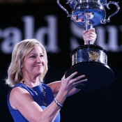 MELBOURNE, AUSTRALIA - JANUARY 25:  Former tennis player Chris Evert holds the Daphne Akhurst Memorial Cup ahead of the final between Na Li of China and Dominika Cibulkova of Slovakia during day 13 of the 2014 Australian Open at Melbourne Park on January 25, 2014 in Melbourne, Australia.  (Photo by Michael Dodge/Getty Images)