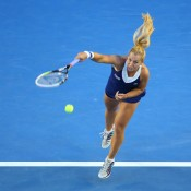 Dominika Cibulkova serves during day 13 of the 2014 Australian Open at Melbourne Park on January 25, 2014 in Melbourne, Australia.