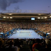MELBOURNE, AUSTRALIA - JANUARY 25:  A general view of Rod Laver Arena as Na Li of China plays a forehand in her women's final match against Dominika Cibulkova of Slovakia during day 13 of the 2014 Australian Open at Melbourne Park on January 25, 2014 in Melbourne, Australia.  (Photo by Scott Barbour/Getty Images)