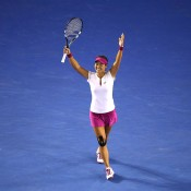 MELBOURNE, AUSTRALIA - JANUARY 25:  Na Li of China celebrates winning championship point in her women's final match against Dominika Cibulkova of Slovakia during day 13 of the 2014 Australian Open at Melbourne Park on January 25, 2014 in Melbourne, Australia.  (Photo by Quinn Rooney/Getty Images)