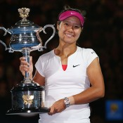 MELBOURNE, AUSTRALIA - JANUARY 25:  Na Li of China holds the Daphne Akhurst Memorial Cup after winning the women's final match against Dominika Cibulkova of Slovakia during day 13 of the 2014 Australian Open at Melbourne Park on January 25, 2014 in Melbourne, Australia.  (Photo by Michael Dodge/Getty Images)