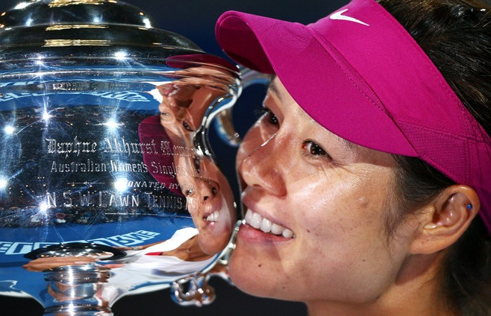 MELBOURNE, AUSTRALIA - JANUARY 25:  Na Li of China holds the Daphne Akhurst Memorial Cup after winning the women's final match against Dominika Cibulkova of Slovakia during day 13 of the 2014 Australian Open at Melbourne Park on January 25, 2014 in Melbourne, Australia.  (Photo by Graham Denholm/Getty Images)